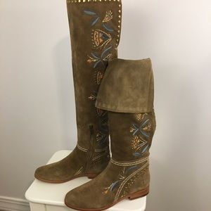 Frye Tina Embroidery Knee High Suede Boots